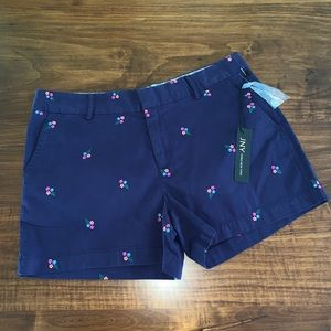 NWT Jones New York Navy Blue Embroidered Shorts